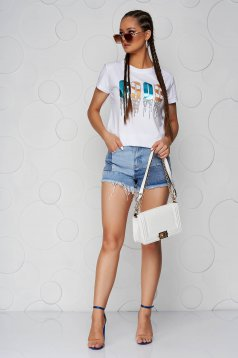 Tricou SunShine alb cu croi larg din bumbac cu decolteu rotunjit si imprimeuri grafice