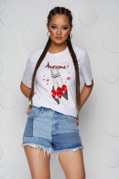 White t-shirt cotton loose fit with rounded cleavage with bow