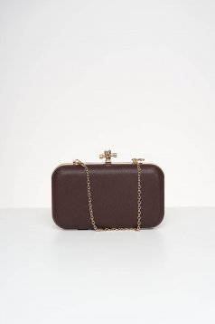Occasional brown bag from ecological leather detachable chain