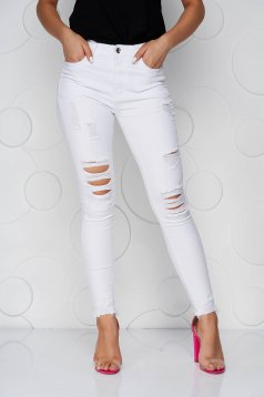 White jeans skinny jeans high waisted ripped with pockets