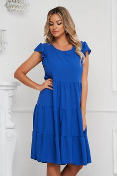Blue dress loose fit midi thin fabric with ruffled sleeves with ruffles at the buttom of the dress