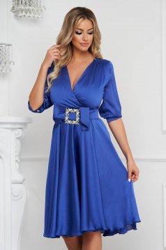 Blue dress elegant midi cloche from satin buckle accessory