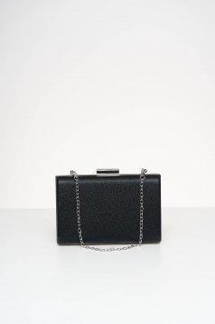 Geanta dama tip clutch neagra de ocazie din material satinat cu aplicatii cu sclipici