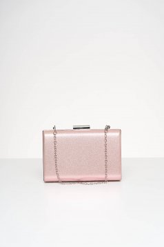 Pink bag occasional from satin fabric texture with glitter details
