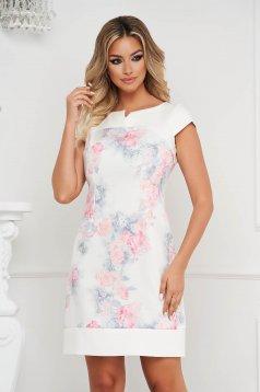 Rochie alba office scurta tip creion din stofa subtire si fina la atingere cu imprimeu floral
