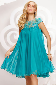 Turquoise dress from veil fabric occasional with lace details loose fit short cut