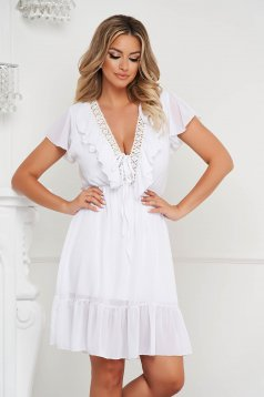 White dress cloche with elastic waist from veil fabric short cut with embroidery details with ruffle details