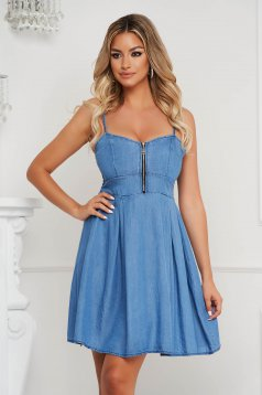 Blue dress cloche short cut denim with straps thin fabric