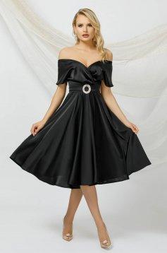 Black dress cloche midi from satin with tie back belt