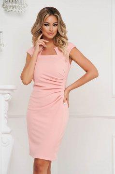 Lightpink dress office short cut pencil from elastic fabric short sleeves