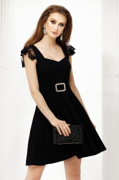 Black dress thin fabric with laced sleeves cloche short cut occasional