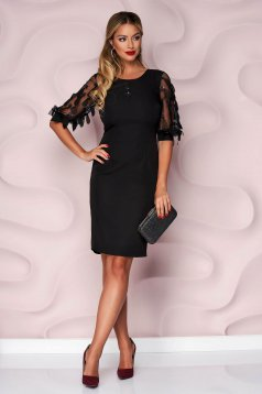 StarShinerS black dress pencil occasional thin fabric nonelastic fabric with sequin embellished details