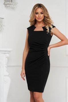 Black dress office short cut pencil from elastic fabric short sleeves