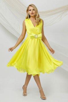 Yellow dress midi occasional cloche from veil fabric sleeveless detachable cord