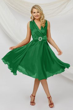 Green dress midi occasional cloche from veil fabric sleeveless detachable cord