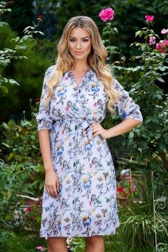 Aqua dress midi cloche with elastic waist airy fabric wrap over front