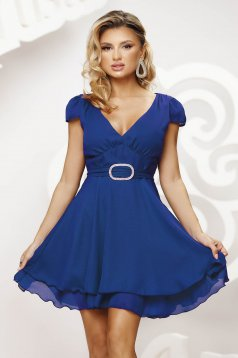 Blue dress short cut occasional cloche airy fabric short sleeves
