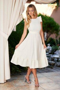 Ivory elegant midi StarShinerS dress cloth cloche with cut back