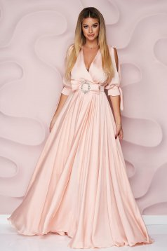 Lightpink dress long occasional from veil fabric cloche with elastic waist with cut-out sleeves
