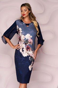 Rochie Lady Pandora albastru-inchis midi de ocazie cu un croi drept din material elastic cu umerii buretati si imprimeu floral