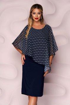 Darkblue dress midi straight from elastic fabric voile overlay