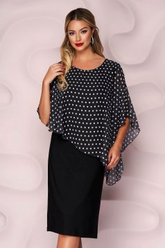 Black dress midi straight from elastic fabric voile overlay