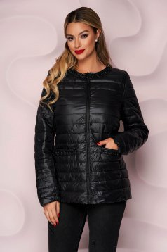 Black jacket from slicker thin fabric with pearls straight