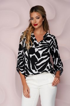 Women`s blouse office thin fabric slightly elastic fabric loose fit short cut