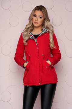 Red jacket midi tented from slicker double-faced detachable hood