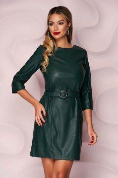 Rochie SunShine verde-inchis casual cu un croi drept din piele ecologica curea din imitatie de piele