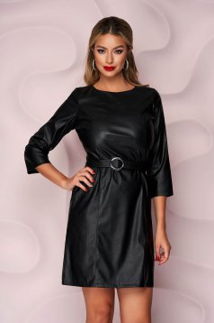 Black dress casual straight from ecological leather faux leather belt