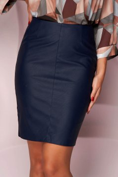 Darkblue skirt short cut pencil from ecological leather office slightly elastic fabric