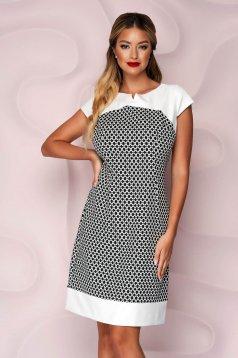 Dress office short cut a-line slightly elastic fabric short sleeves