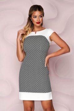 Dress office slightly elastic fabric short cut a-line short sleeves
