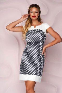 Dress office a-line slightly elastic fabric short sleeves short cut