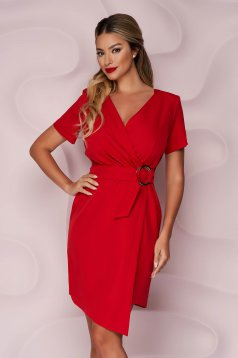 StarShinerS red dress office pencil cloth thin fabric wrap over skirt accessorized with tied waistband