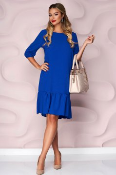 Blue dress with ruffle details from veil fabric loose fit with 3/4 sleeves