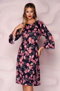 Rochie Lady Pandora office midi cu croi in a din material tricotat elastic cu imprimeu floral