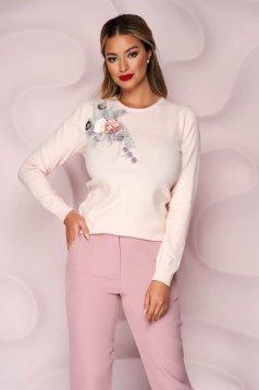 Pulover Lady Pandora roz deschis tricotat cu croi larg cu flori in relief cu efect 3d