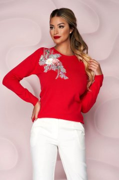 Red sweater knitted loose fit with raised flowers with 3d effect
