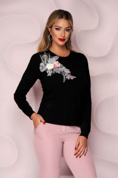 Black sweater knitted loose fit with raised flowers with 3d effect