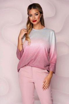 Pulover Lady Pandora roz casual cu croi larg din material elastic tricotat cu maneci trei-sferturi