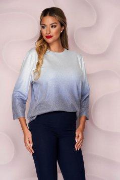 Bluza dama Lady Pandora argintie casual cu croi larg din material elastic tricotata cu maneci trei-sferturi