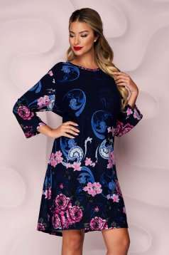 Darkblue dress straight knitted thin fabric from elastic fabric with floral print