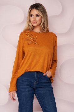 Orange sweater office loose fit thin fabric from elastic fabric knitted fabric