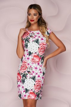 StarShinerS dress office short cut straight non-flexible thin fabric with floral print