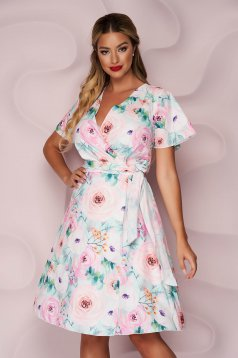 StarShinerS dress short cut cloche soft fabric with floral print