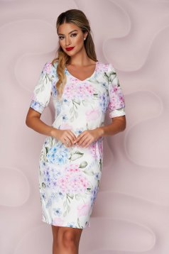 StarShinerS dress office pencil non-flexible thin fabric with floral print short cut