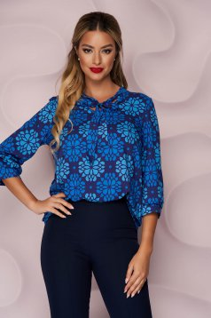 StarShinerS darkblue women`s blouse asymmetrical loose fit thin fabric office nonelastic fabric with floral print