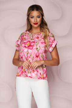 StarShinerS women`s blouse office asymmetrical loose fit soft fabric with floral print